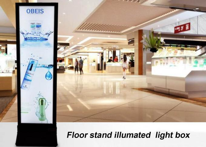 Movable Free Standing Light Boxes , Illuminated Display Unit With Silver Aluminum Frame