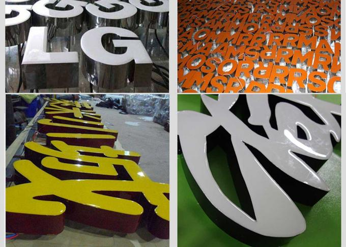 Epoxy Resin Face Front Lit Led Channel Letters With Stainless Steel Return Rimless