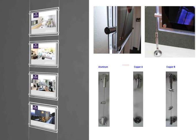 Real Estate Window Crystal LED Light Box Display Single Sided With Steel Cable System