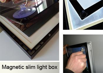 15mm Thickness Poster Aluminum Light Box Displays With Magnetic Open Front Panel