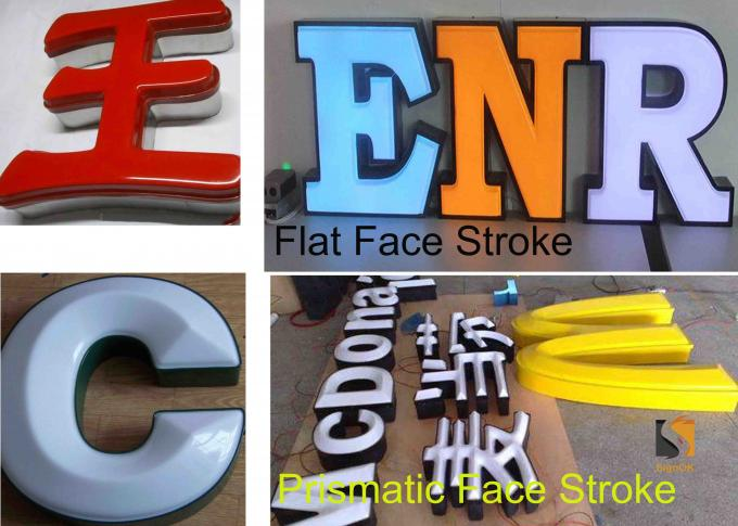 Custom Formed Lighted LED Plastic Sign Letters With Metal Returns