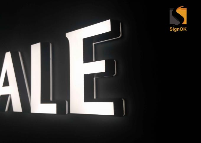Slope Shape Acrylic Cast LED Indoor Sign Letters With Frontlit & Backlit