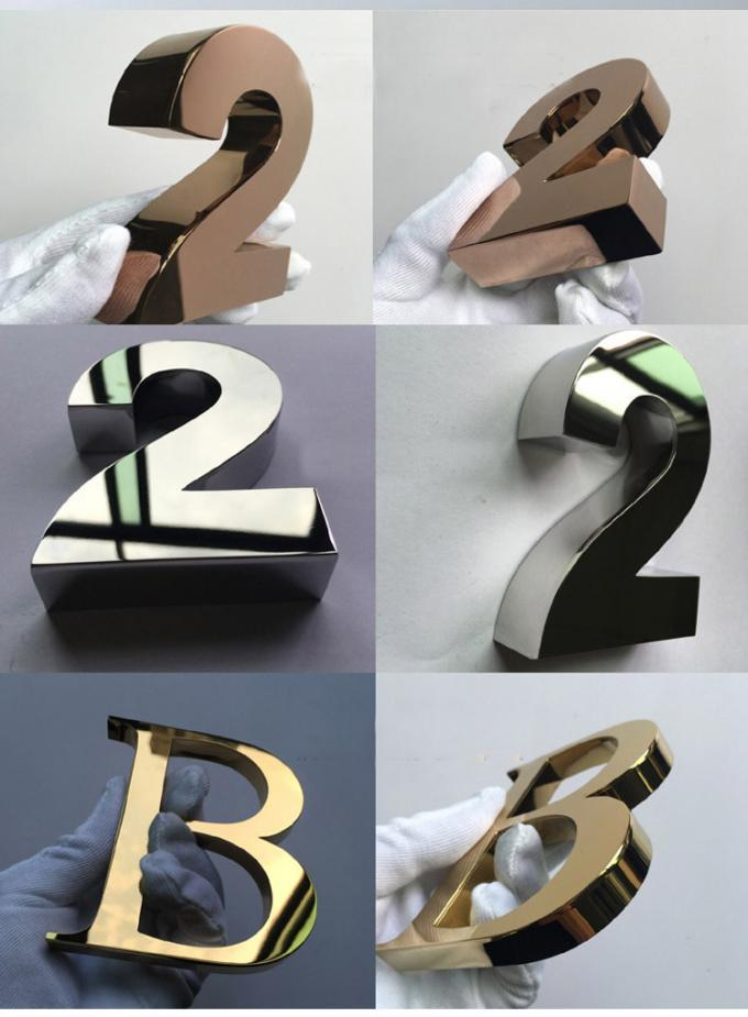 Small 3D Shop Sign / Decorative Metal Letters With Finishing Gold , Bronze , Silvery