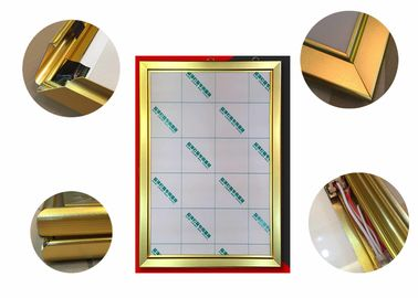 Jewelry Display Advertising Light Box Picture Frame , Gold Color Led Poster Light Box