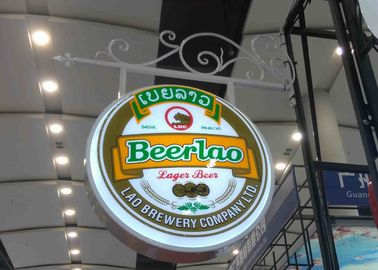 Aluminum Frame Vacuum Forming Light Box / Pub Beer Light Box Waterproof With Hanging Sign Iron Bracket