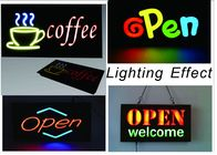 23 X 43cm LED Neon Open Sign With Chain With Resin Letter / Retail Storefront Signs