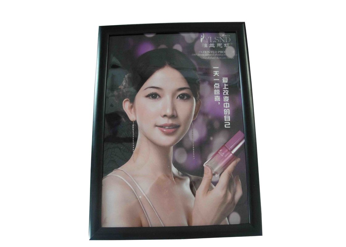 Super Thin Black Lighted Picture Frame Box , Single Side Menu Light Box