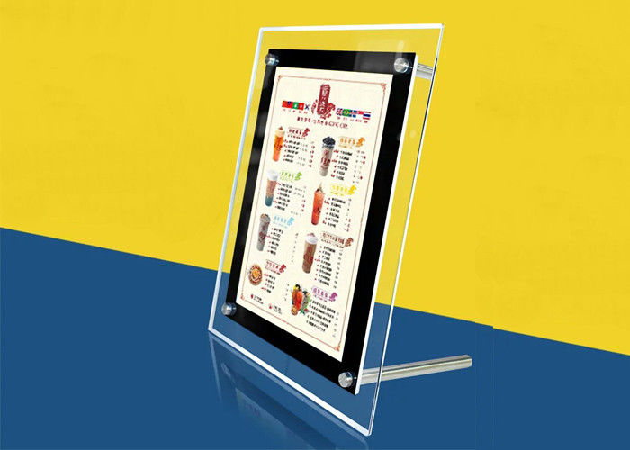 Table Stand Ultra Thin Lightbox Menu Display , A4 Size Acrylic Illuminated Menu Box