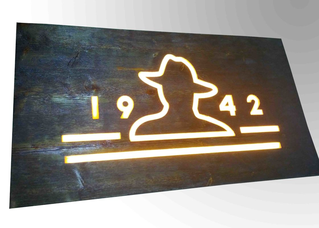 Custom Resin Illuminated Wooden Signs Wall Mounted Decoration Bar Sign Used
