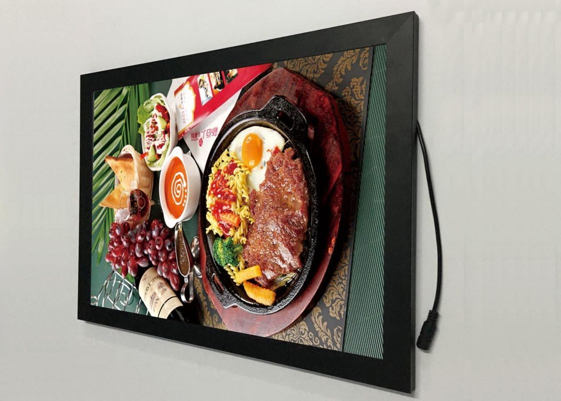 A2  Flat Snap Frame Led Light Box Black Color Backlit For Restaurant Menu Display