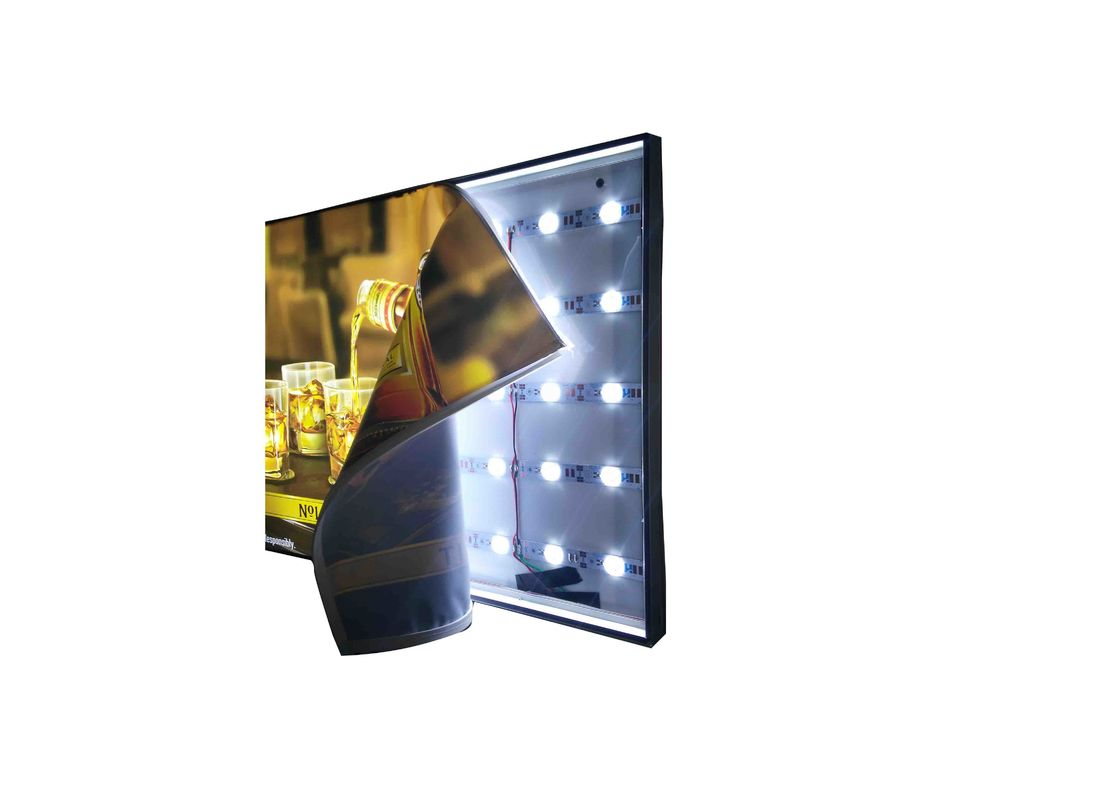 Single Side Frameless Fabric Led Display Light Box 6.5 Cm Width With Black Frame