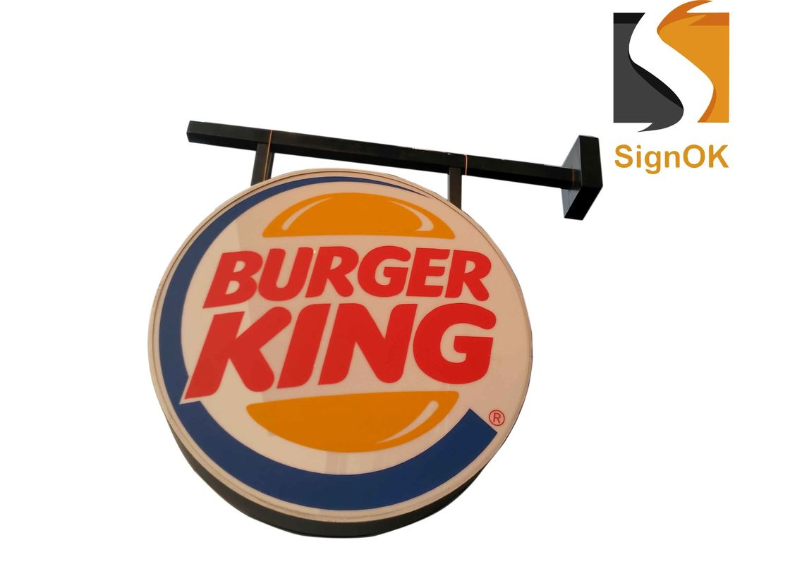 Burger  Illuminated Sign Box , Vacuum Forming Light Box Round Shape