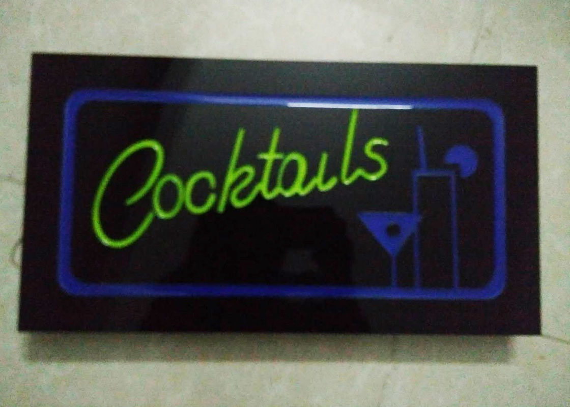 Cocktails Illuminated Indoor Sign Letters With Four Display Modes Window Signage