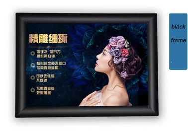 China Black Snap Open Poster Frames With Mitred Corner , Lockable Snap Frames For Coffee Store factory